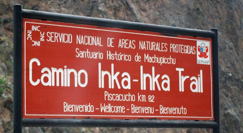 Cartel indicador Gran Camino Inca