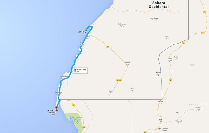 Trayecto de Dkhla a Nuadibu