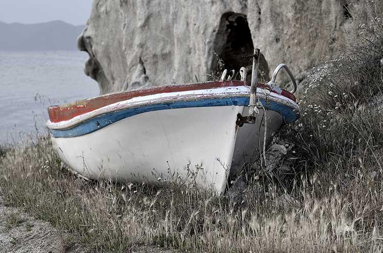 Un a barca típica de la península Calcídica