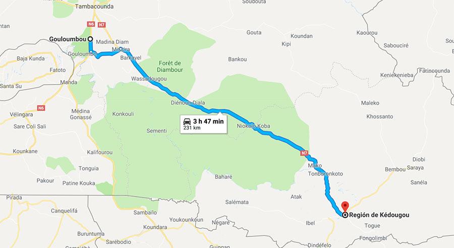 Mapa del trayecto de Gouloumbou a Kegoudou