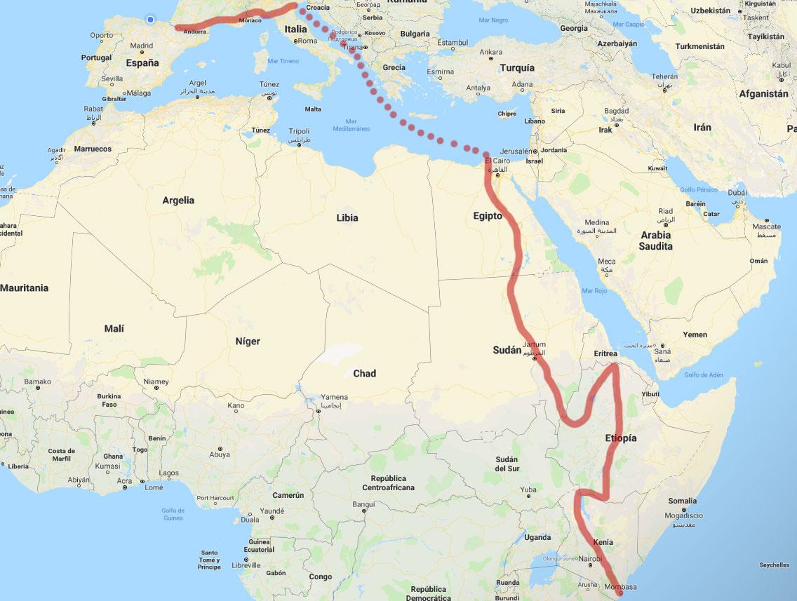 El recorrido de España hasta Kenia